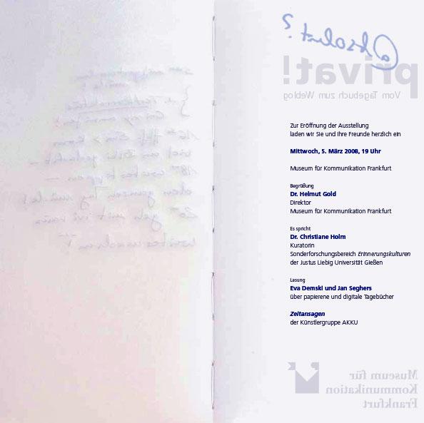 Einladung Tagebuchausstellung